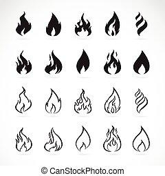vecteur, ensemble, de, flamme, symboles, blanc, fond