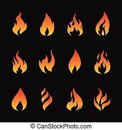 vecteur, ensemble, de, flamme, symboles, sur, arrière-plan noir