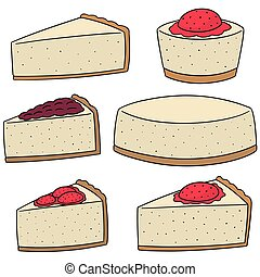 vecteur, ensemble, de, fromage, gâteau