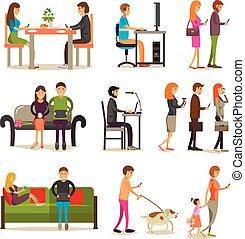 vecteur, ensemble, de, gens, à, moderne, gadgets, plat, style, design.