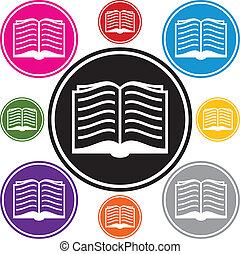 vecteur, ensemble, de, livre, symboles