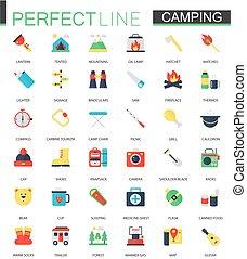 vecteur, ensemble, de, plat, camping, randonnée, icons.