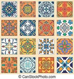 Motifs ensemble azulejos portugais papier peint clipart vectoriel rechercher - Azulejos portugueses comprar ...