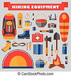 vecteur, ensemble, de, randonnée, et, camping, equipment., tourisme, icons.