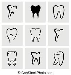 vecteur, ensemble, dents, icône
