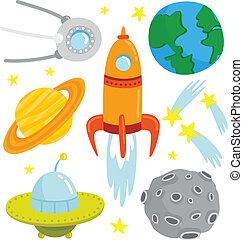 vecteur, ensemble, dessin animé, elements., espace