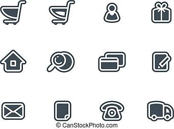 vecteur, ensemble, ecommerce, icônes