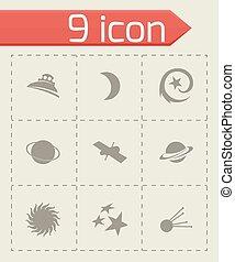 vecteur, ensemble, espace, icônes