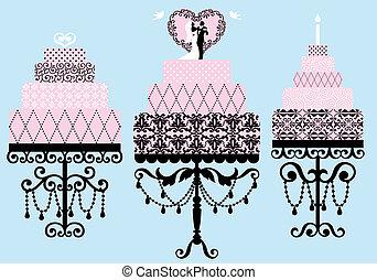 vecteur, ensemble, fantaisie, gâteaux