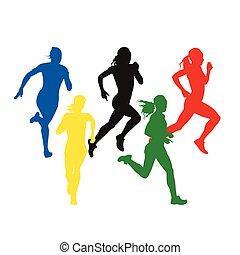 vecteur, ensemble, femmes, coloré, runners., sport, silhouettes, individu, cinq, athlètes, courant