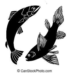 vecteur, ensemble, fish, illustration, fond, blanc