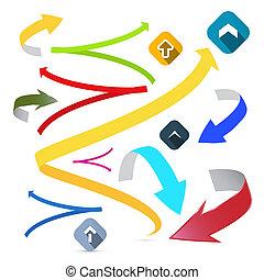 vecteur, ensemble, flèches, coloré, illustration