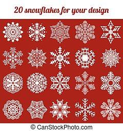vecteur, ensemble, flocon de neige, illustration, hiver