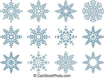 vecteur, ensemble, flocon de neige