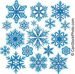 vecteur, ensemble, flocons neige