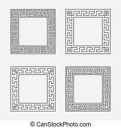 vecteur, ensemble, frames., quatre carré, méandre