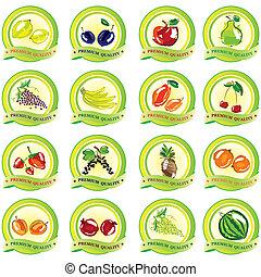vecteur, ensemble, fruit, icônes