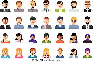 vecteur, ensemble, gens, coloré, icônes