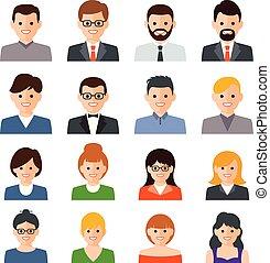vecteur, ensemble, gens, icônes
