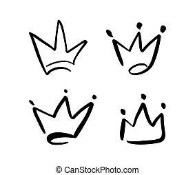 vecteur, ensemble, grunge, dessiné, symbole, isolé, illustration, main, stylisé, coup, crown., noir, brosse, white., encre, brush., logo, design.