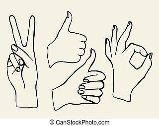 vecteur, ensemble, hands.