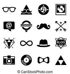 vecteur, ensemble, hipster, icône