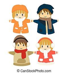 vecteur, ensemble, hiver, costumes