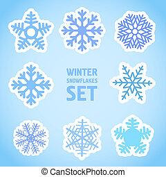 vecteur, ensemble, hiver, flocons neige