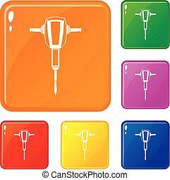 vecteur, ensemble, icônes, couleur, pneumatique, plugger, marteau