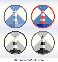 vecteur, ensemble, icônes, illustration., phare