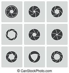 vecteur, ensemble, icônes, volet, appareil photo, noir
