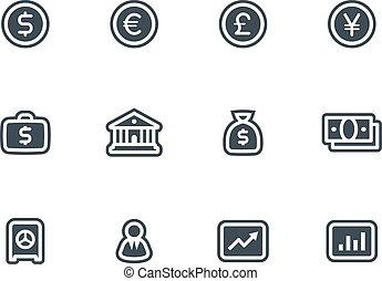 vecteur, ensemble, icones affaires, finance