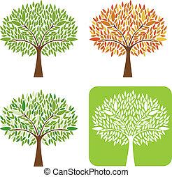 vecteur, ensemble, illustration., arbres
