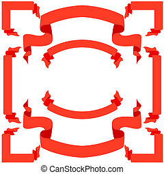 vecteur, ensemble, illustration, bannières, rubans, rouges