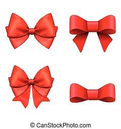 vecteur, ensemble, illustration., cadeau, arcs, ribbons., rouges