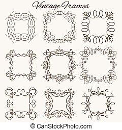 vecteur, ensemble, illustration., elements., typographique, calligraphic, hand-drawn, frames.