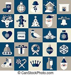 vecteur, ensemble, illustration., icons., noël