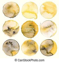 vecteur, ensemble, illustration., jaune, aquarelle, fond, blanc