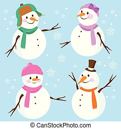 vecteur, ensemble, illustration, snowmen.