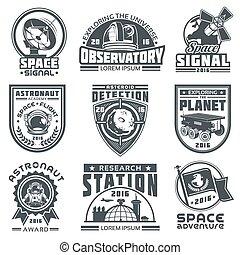 vecteur, ensemble, insignes, space.