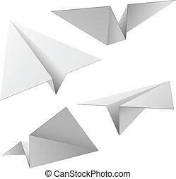 vecteur, ensemble, isolé, arrière-plan., papier, avions, blanc