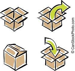 vecteur, ensemble, isolé, livraison, boîtes, fond, papier, blanc