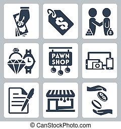 vecteur, ensemble, isolé, pawnshop, icônes
