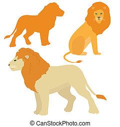 vecteur, ensemble, lions, dessin animé