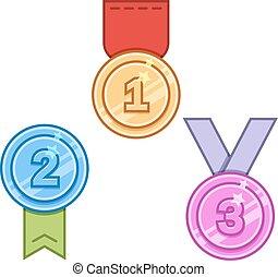 vecteur, ensemble, médailles
