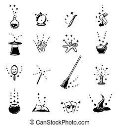 vecteur, ensemble, magie, icônes