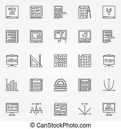 vecteur, ensemble, math, icônes