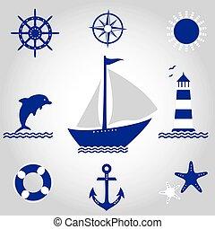 vecteur, ensemble, mer