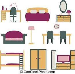 vecteur, ensemble, meubles