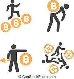 vecteur, ensemble, mineur, bitcoin, icône